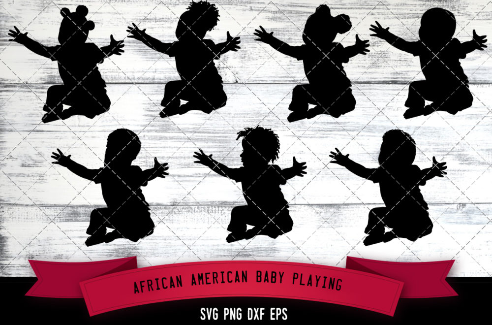 African American Baby Playing  SVG - Black Baby Playing with toys