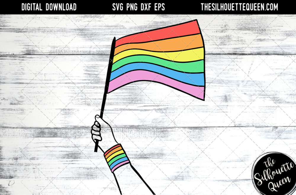 Hand Sketched Hand holding Rainbow Flag Gay Pride