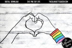 Hand Sketched hands making a heart in Rainbow colors Gay Pride