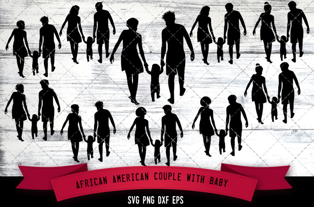 African American Couple with Baby  SVG - Black Family with Baby