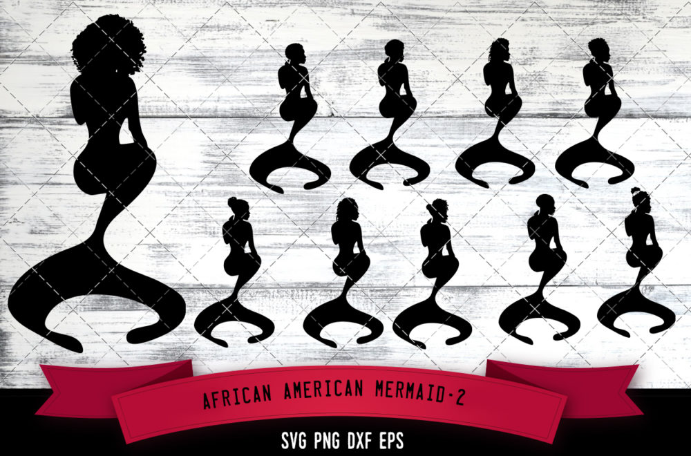 African American Mermaid-2  SVG - Black Mermaid