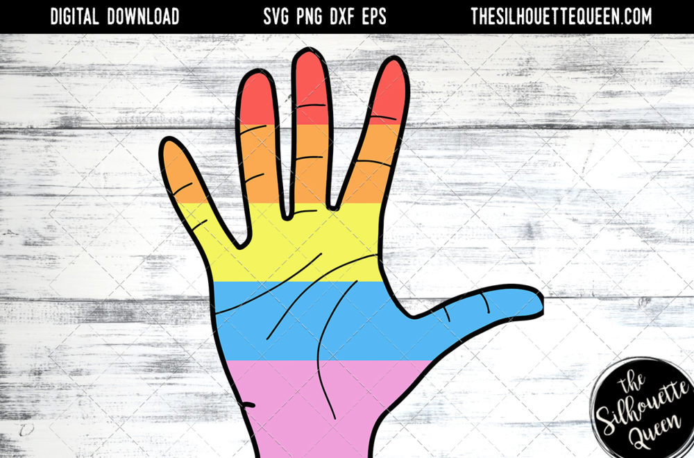 Hand Sketched Open Hand in Rainbow Colors Gay Pride