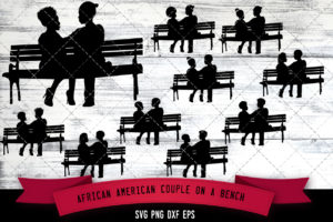 African American Couple on a Bench  SVG - Black Couple on a Bench