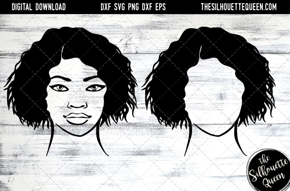 African American Woman Afro Hair - Short Wet Wavy Curly SVG file for Cricut