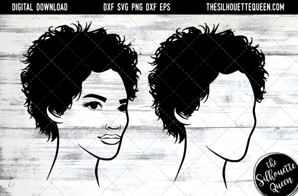 African American Woman Afro Hair - short curly pixie SVG file for Cricut