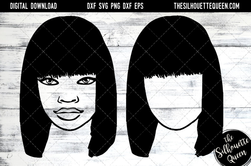 African American Woman Afro Hair - Straight Bob Full Bangs SVG file for Cricut