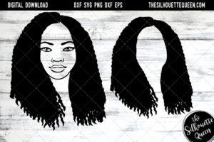 African American Woman Afro Hair - Natural Medium Curly SVG file for Cricut