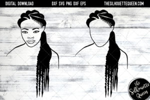 African American Woman Afro Hair - Natural Long Braids SVG file for Cricut