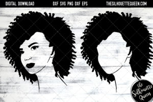 African American Woman Afro Hair - Natural Coily curls SVG file for Cricut