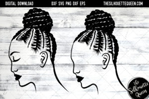 African American Woman Afro Hair - Braided Bun SVG file for Cricut