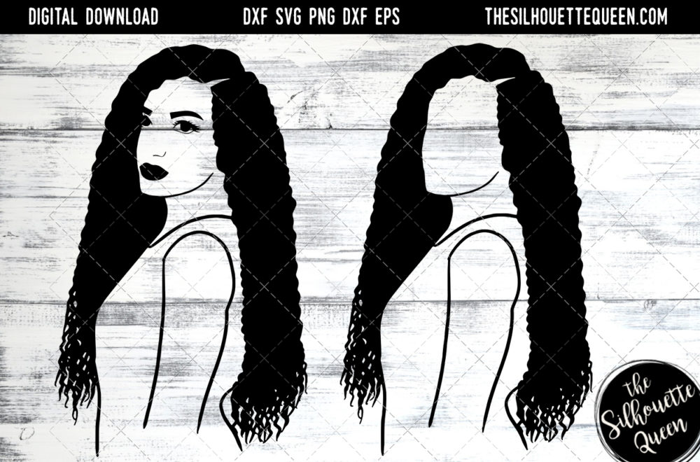 African American Woman Afro Hair - Long Curl Hair SVG file for Cricut