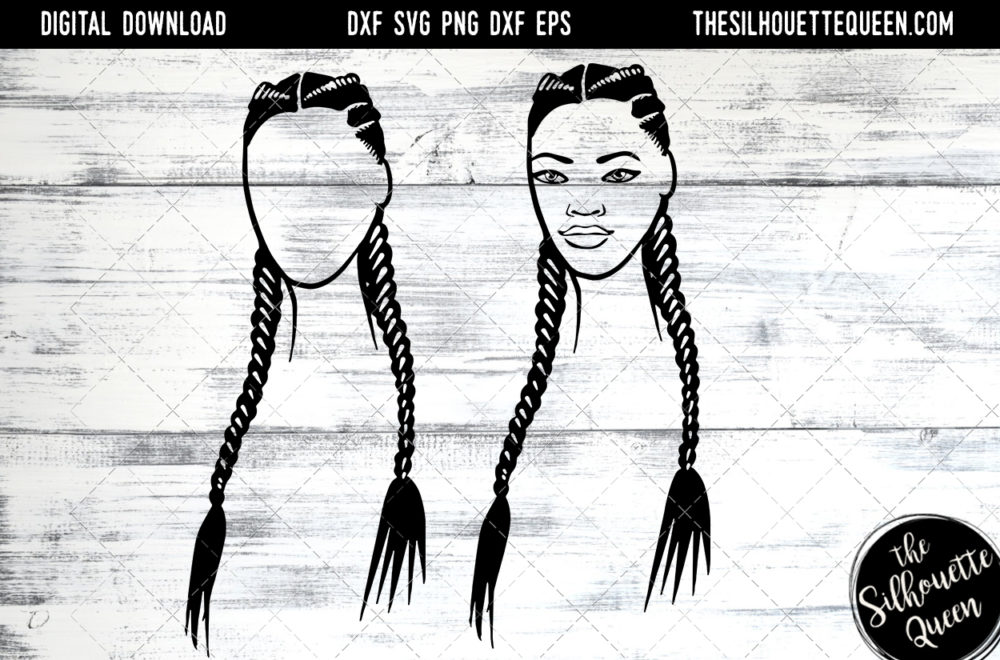 African American Woman Afro Hair - Long 2 Braids SVG file for Cricut