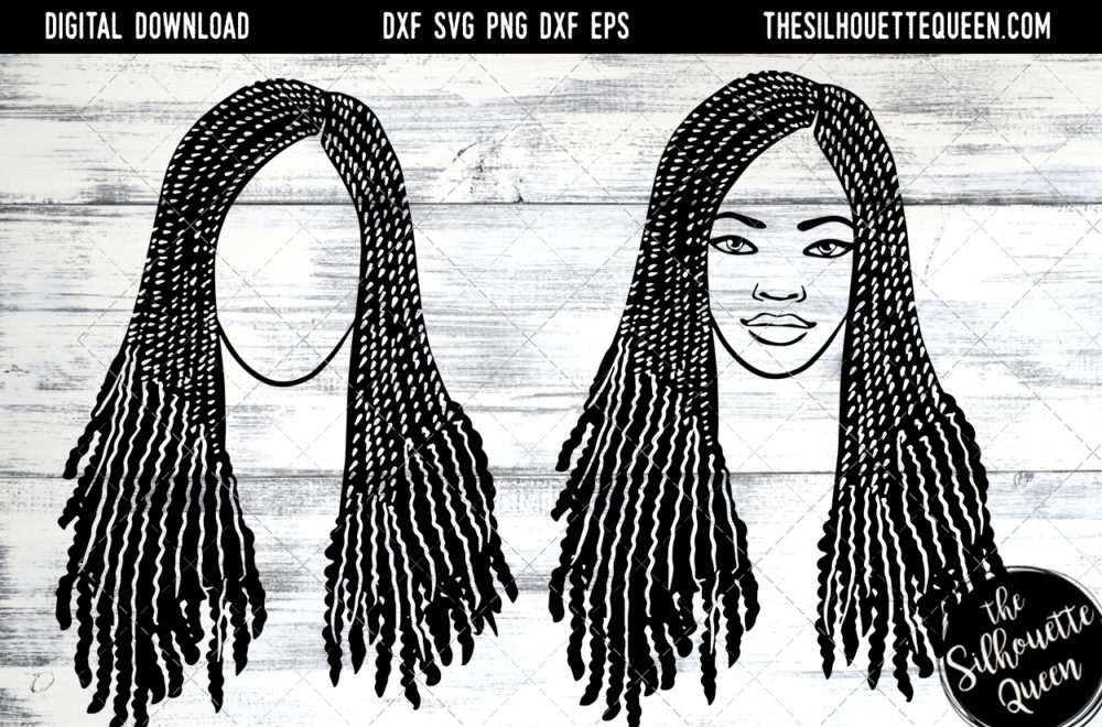 African American Woman Afro Hair - Braids with Curls SVG file for Cricut