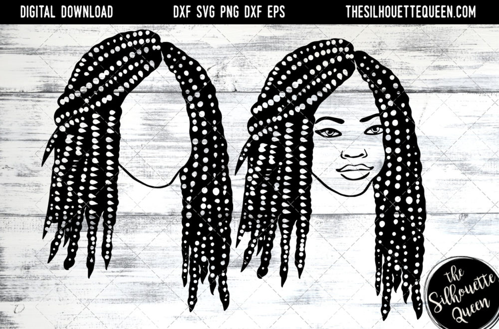 African American Woman Afro Hair - Short Bob Box Braids SVG file for Cricut