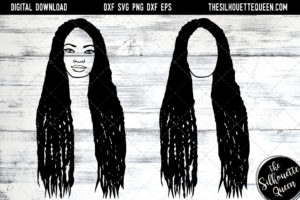 African American Woman Afro Hair - Long Braids SVG file for Cricut