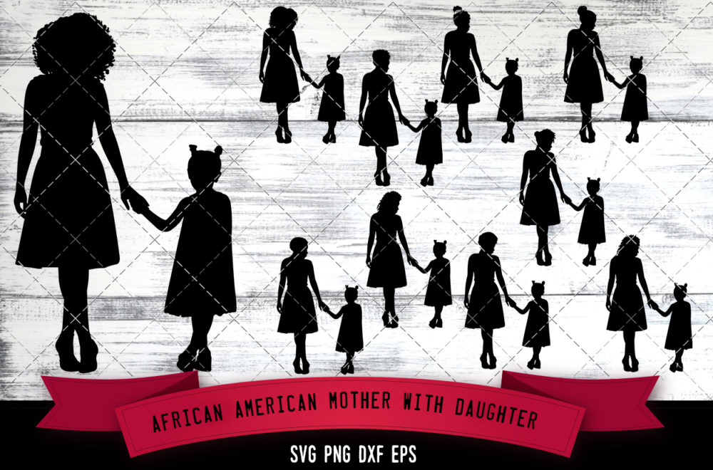 African American Mother with Daughter  SVG - Black Woman with Girl