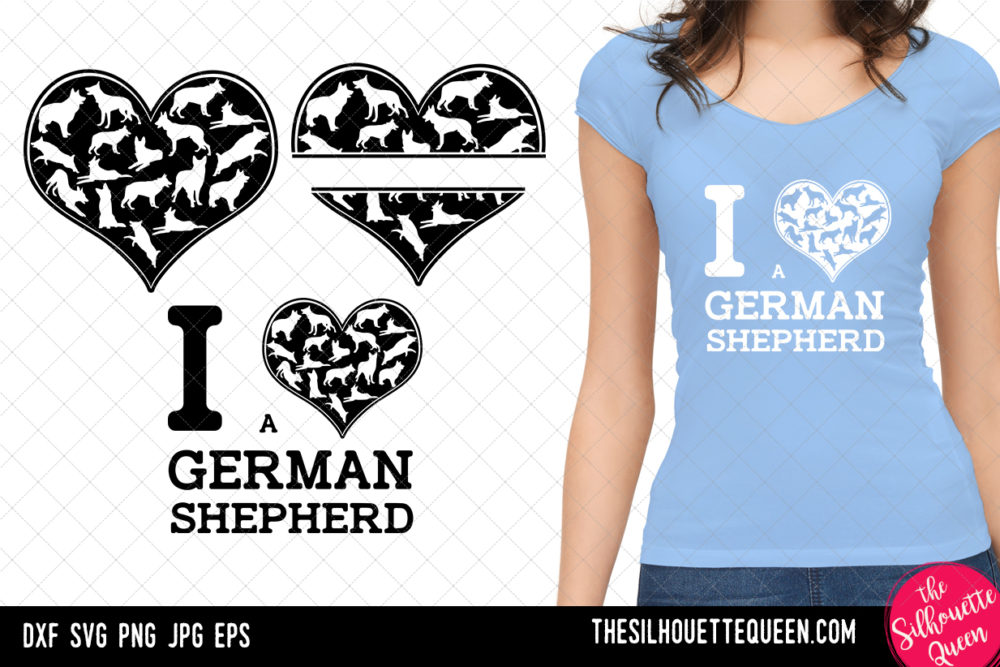 German Shepherd heart SVG