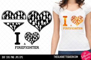 Fire Fighter heart SVG