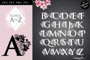 Floral Alphabets - SVG PNG JPG EPS - cut files