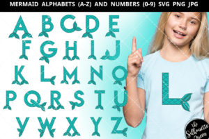 Mermaid alphabet a-z svg