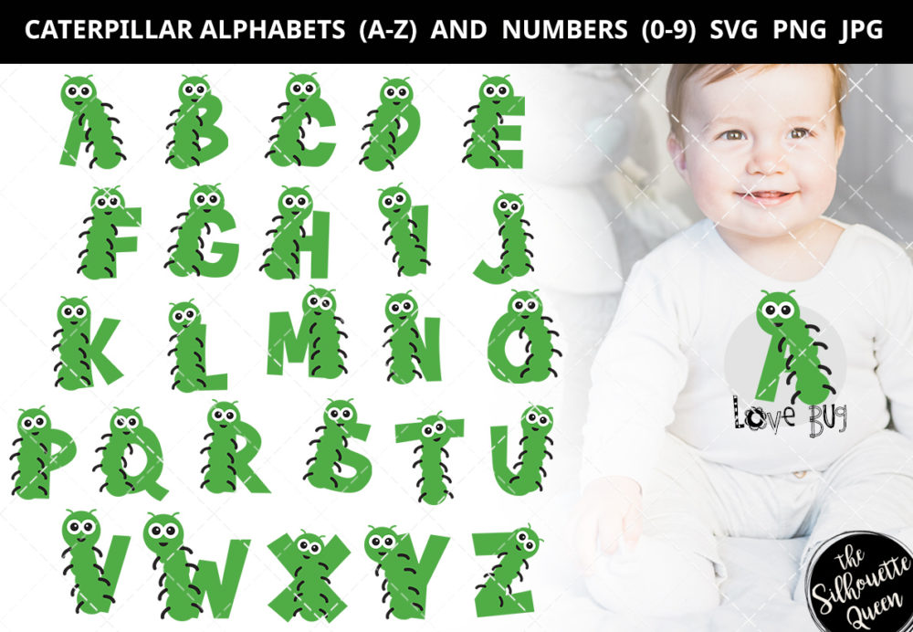 Caterpillar alphabet a-z svg