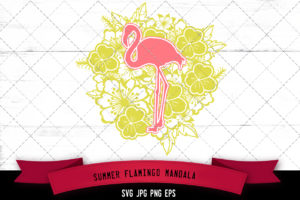 Flamingo Floral Mandala SVG Cut File