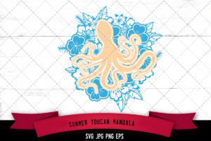 Octopus Floral Mandala SVG Cut File