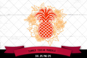 Pineapple Floral Mandala SVG Cut File