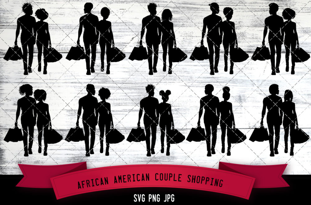 African American couple shopping svg