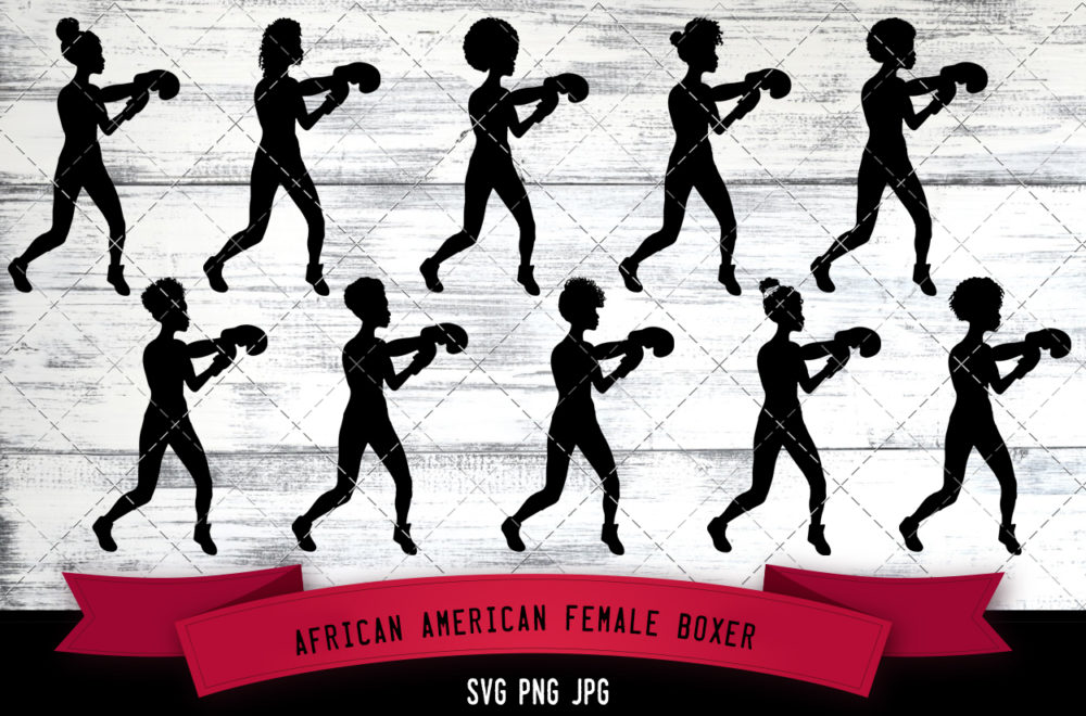 African American female boxer svg