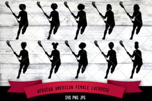 African American female lacrose player svg