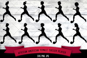 African American female soccer player svg