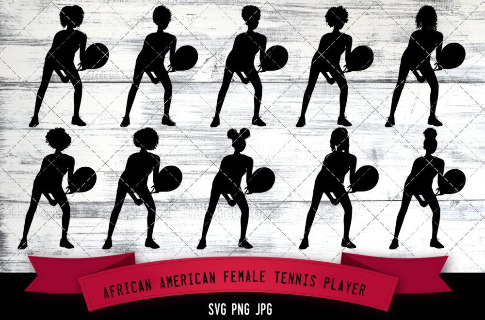 African American female tennis player svg