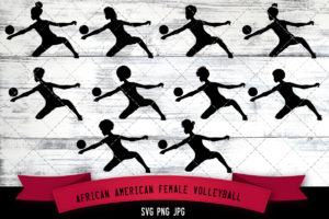 African American female Volleyball player svg