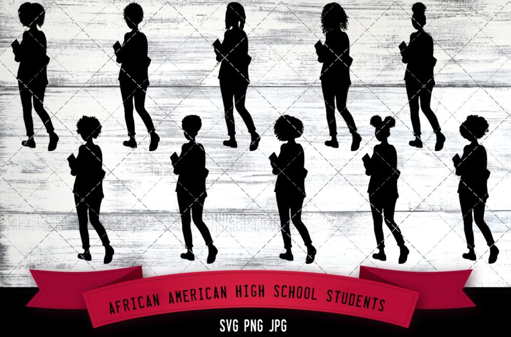 African American High School Kid students svg