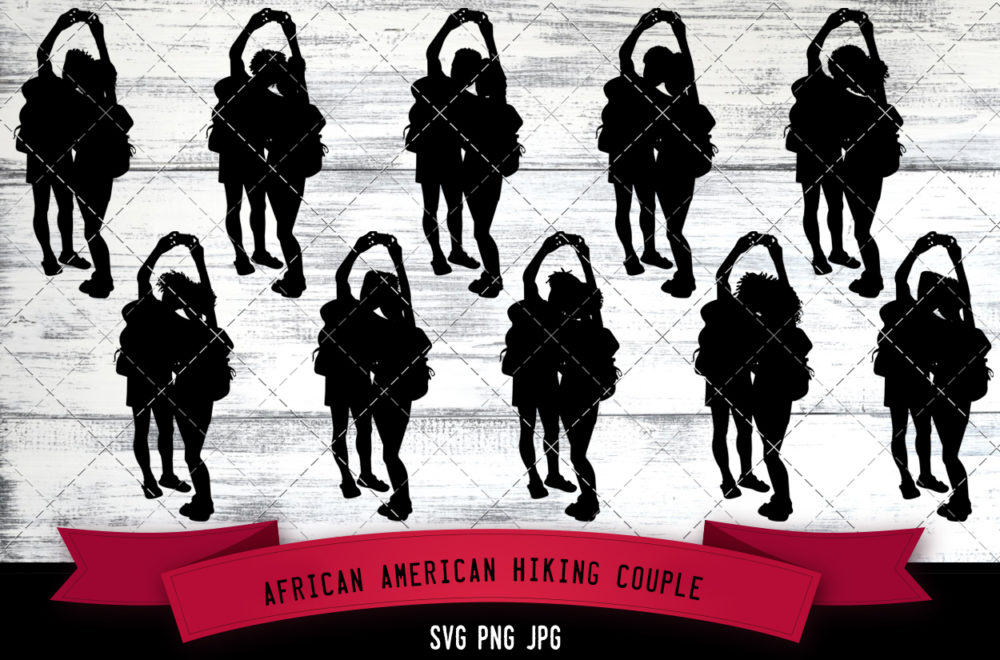 African American hiking couple svg