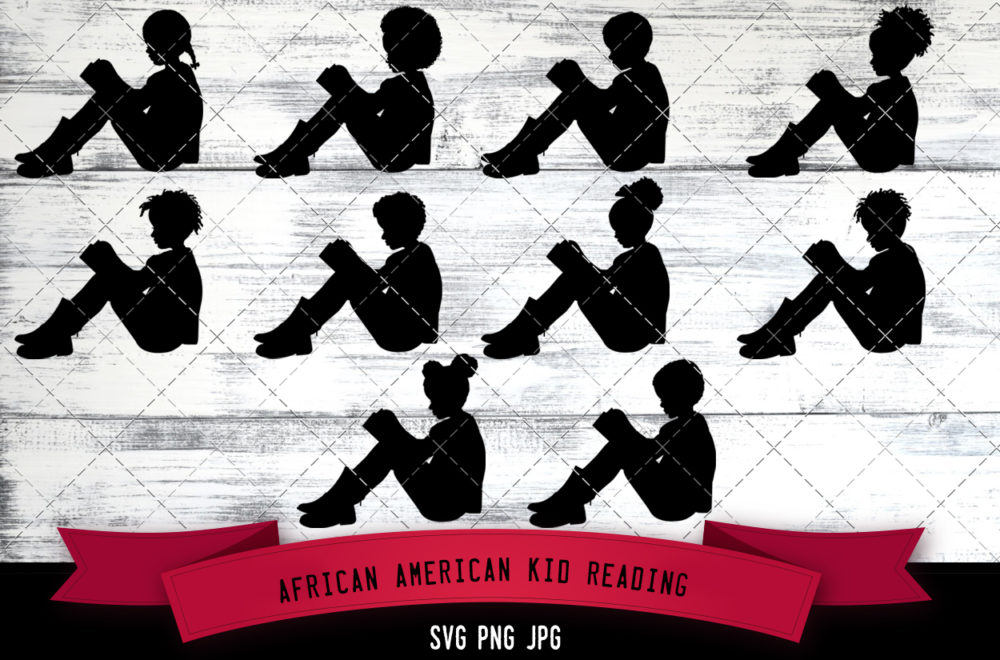 African American kid reading svg