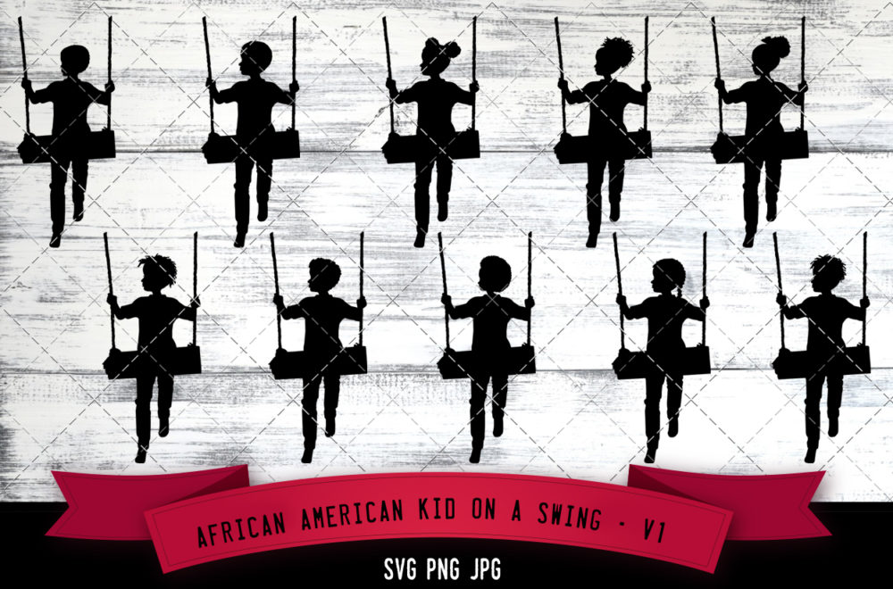 African American kid on swing 1 svg