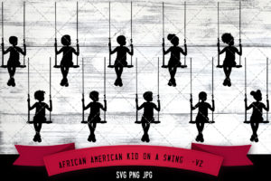 African American kid on swing 2 svg