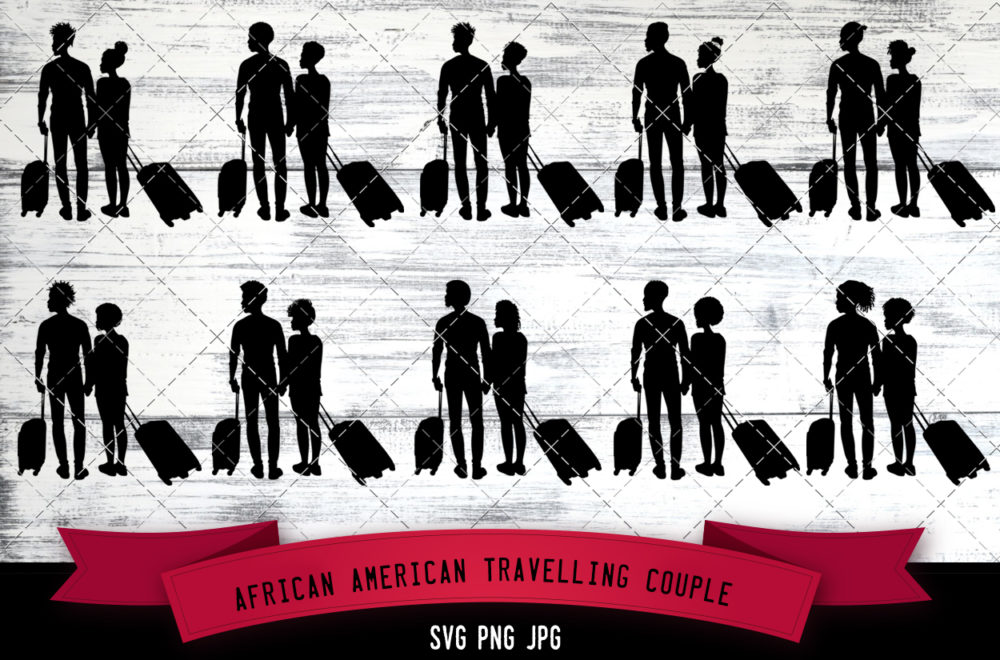 African American traveling couple svg