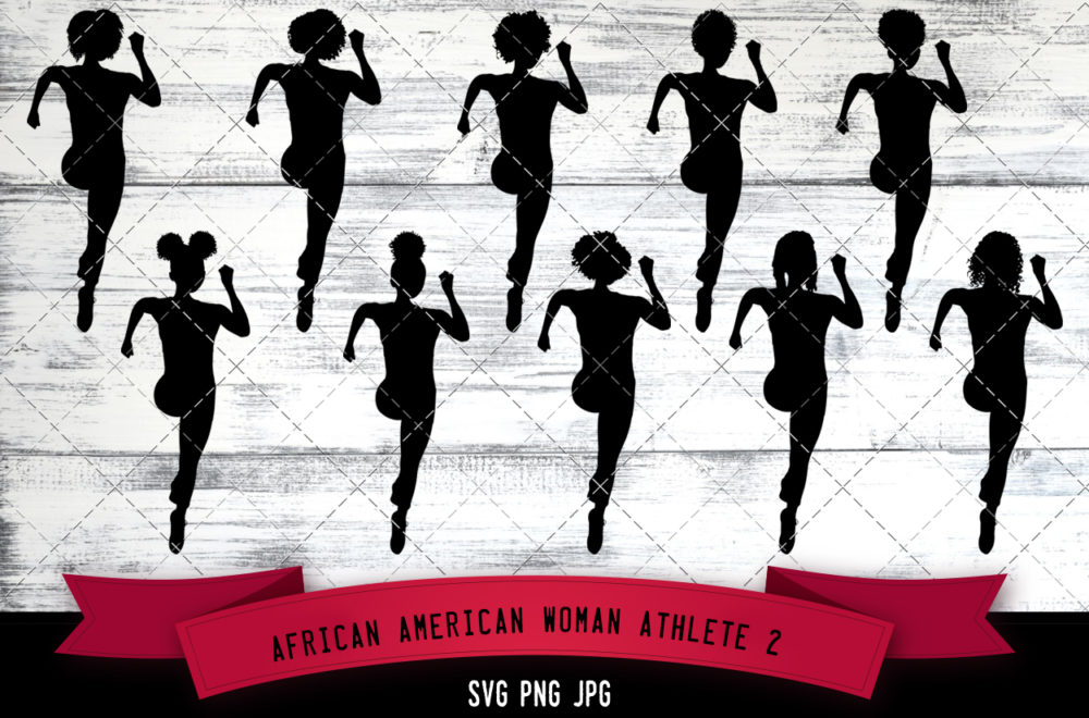 African American woman athlete svg
