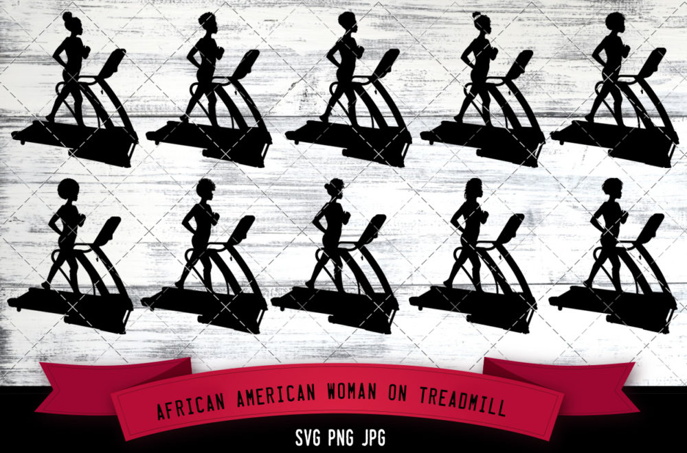 African American woman on treadmill