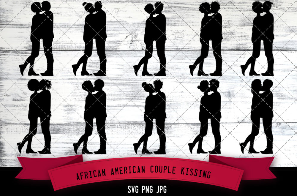 African American Couple kissing svg