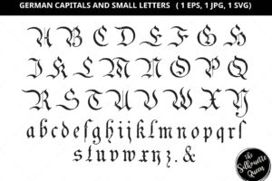 German Capital and Small Letter Silhouette Vector