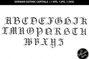 German Gothic Letter Silhouette Vector