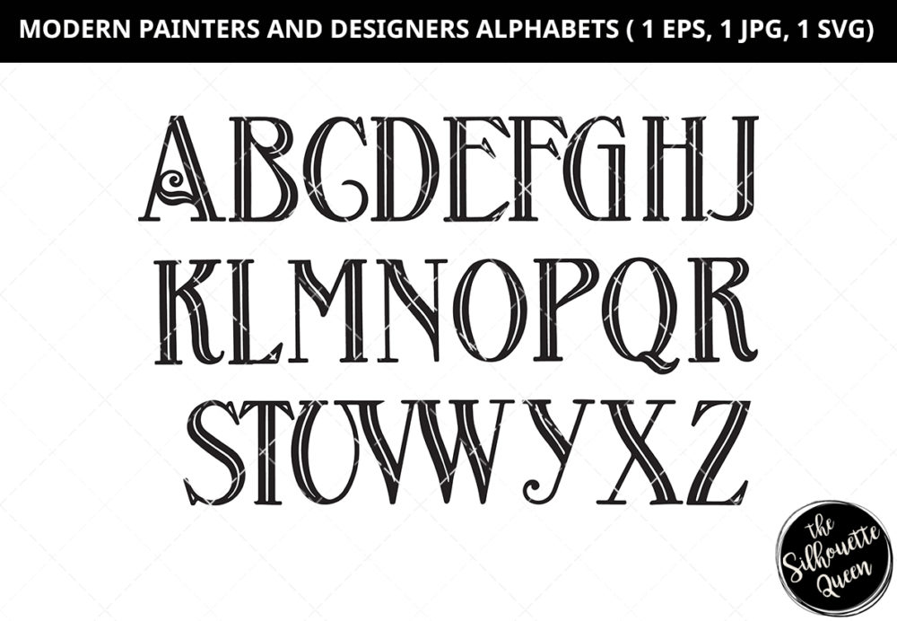 Modern Painters and Designers Alphabet Silhouette Vector