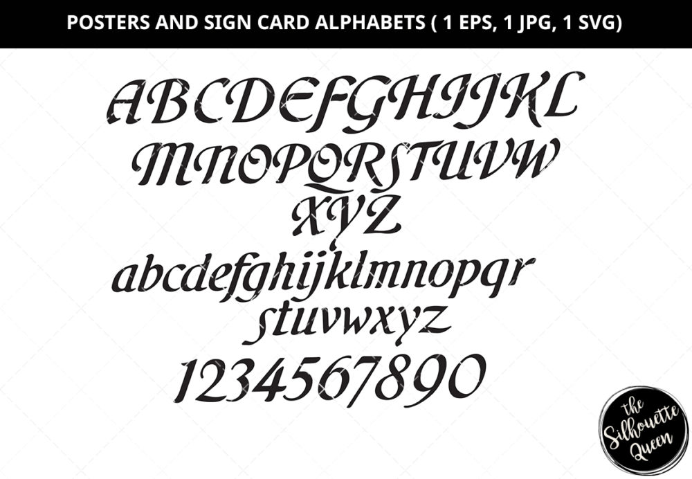 Poster and Sign Card Alphabet Silhouette Vector
