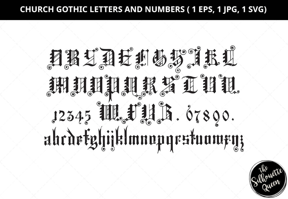 Church Gothic Letters Silhouette Vector