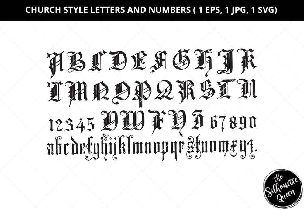Church Style Letters and Numbers Silhouette Vector