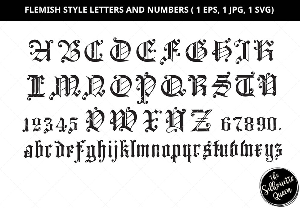 Flemish Style Letters and Numbers Silhouette Vector